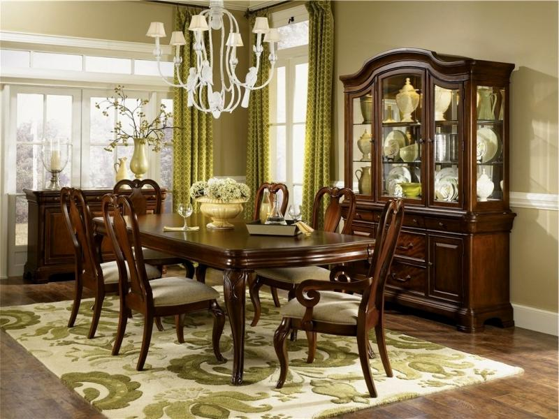 Beautiful Set With A French Flairincludes Table Two Pedestals And Leaves6 Side Chairs2 Arm Chairseight Totaltwo Piece Lighted China Cabinet